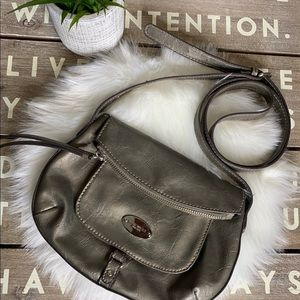 Nine West silver gray metallic crossbody